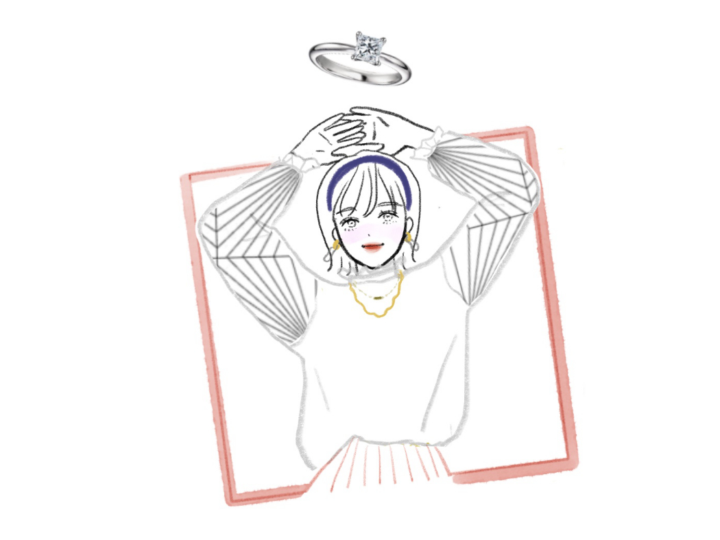 プリンセスカット模様の服を着たイラスト