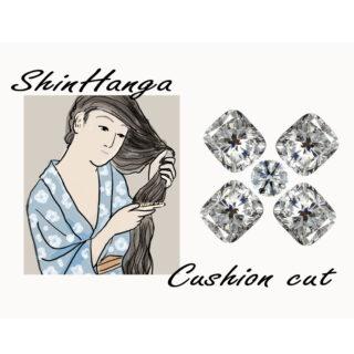 クッションカットのダイヤの写真と髪梳ける女のイラスト