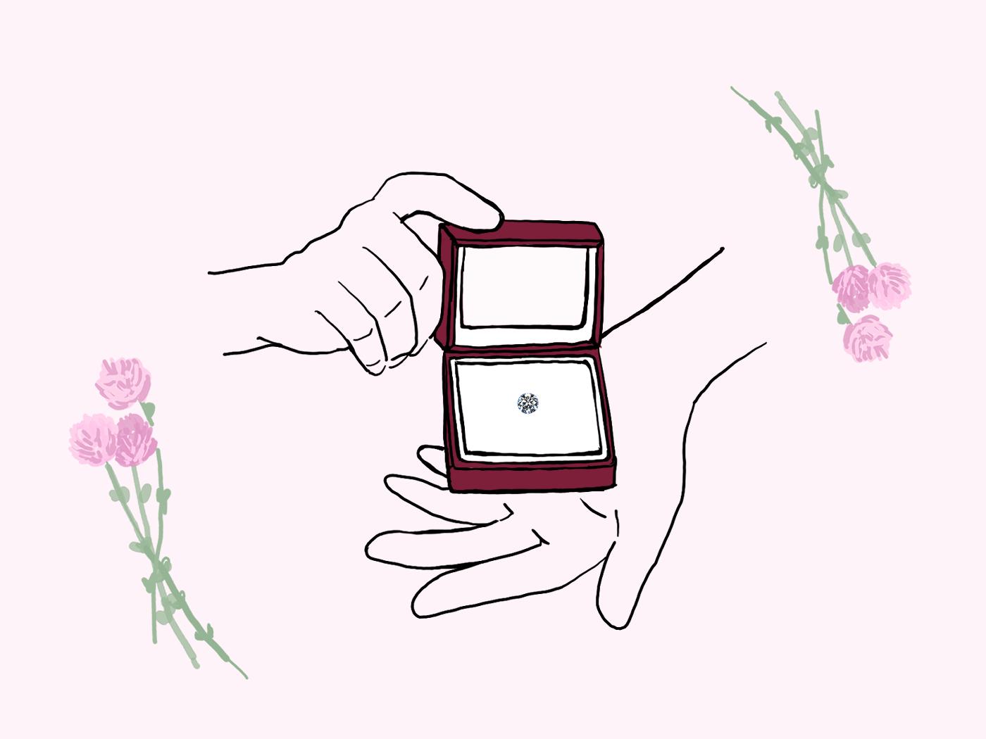 ダイヤモンドのルースでプロポーズするイラスト