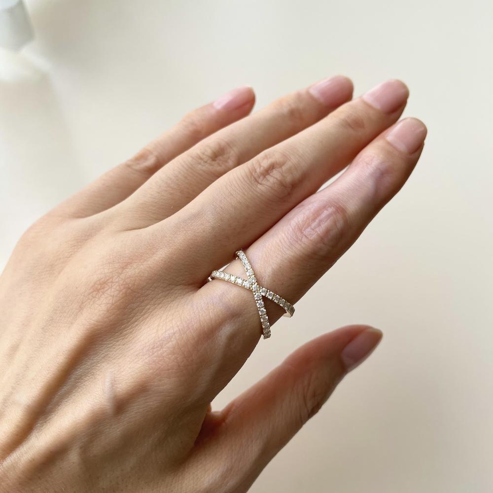 人差し指 中指 指輪 クロス リング